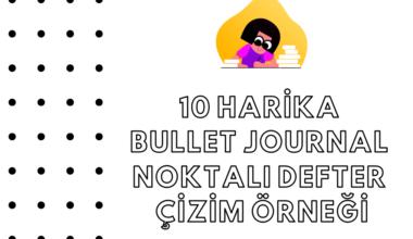 10 Harika Bullet Journal Noktalı Defter Çizim Örneği