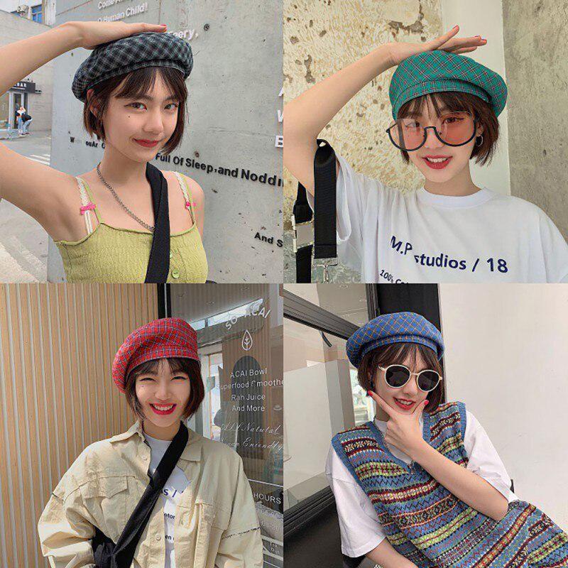 Vintage Women Winter Plaid Hat Beret Korean Style Ladies Painter sboy Berets Streetwear - buy from 7$ on Joom e-commerce platform